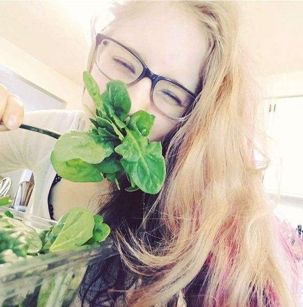 SUBMITTED PHOTO - Katy Hoogendam loves her greens and her plant-based diet and isn't afraid to show it.