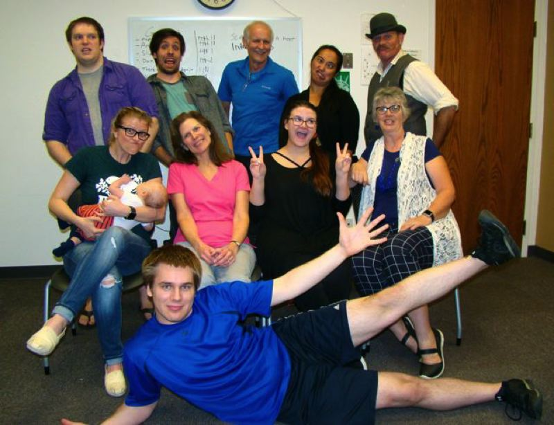 SUBMITTED PHOTO - Phoenix Theater's new improv troupe is pictured above doing what they do best: looking animated and having fun. Their first production 'Mission: Improvible' opens on Oct. 13.