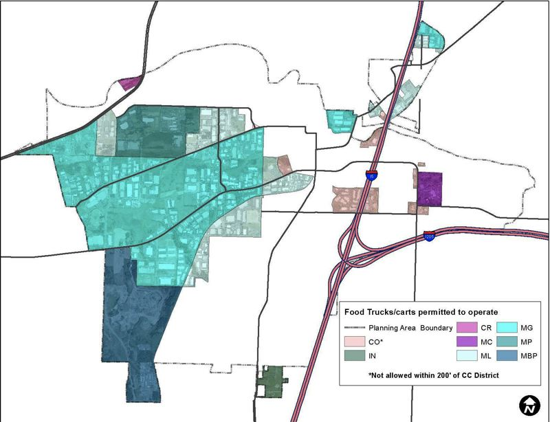 COURTESY OF THE CITY OF TUALATIN - A map shows in shades of blue and pink where food trucks and carts will be able to operate in Tualatin, with the proper permits, starting in 2019.