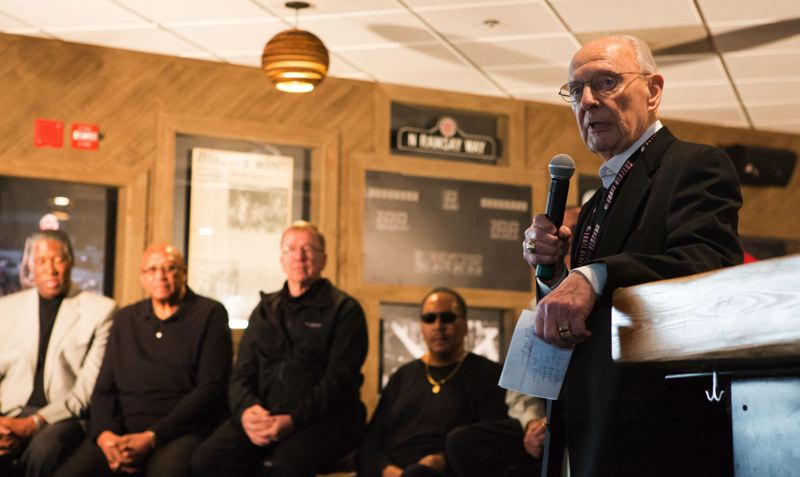 TRIBUNE FILE PHOTO: ADAM WICKHAM - Trail Blazers broadcaster Bill Schonely speaks at a reunion of the 1976-77 Portland NBA championship team.