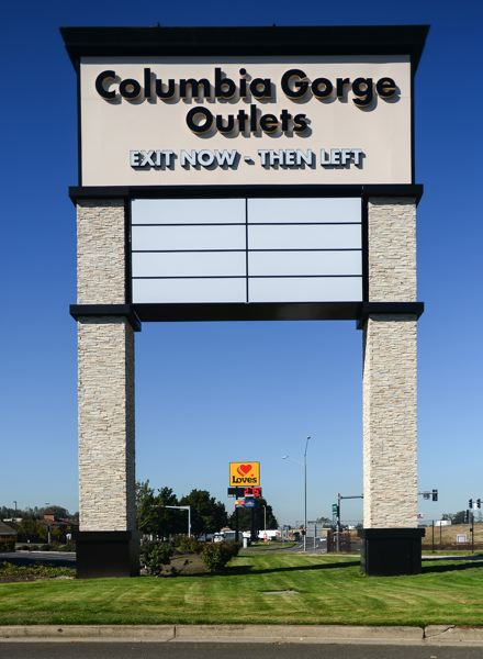 OUTLOOK PHOTO: JOSH KULLA - The Columbia Gorge Outlets have new ownership, a new brand and new signage.