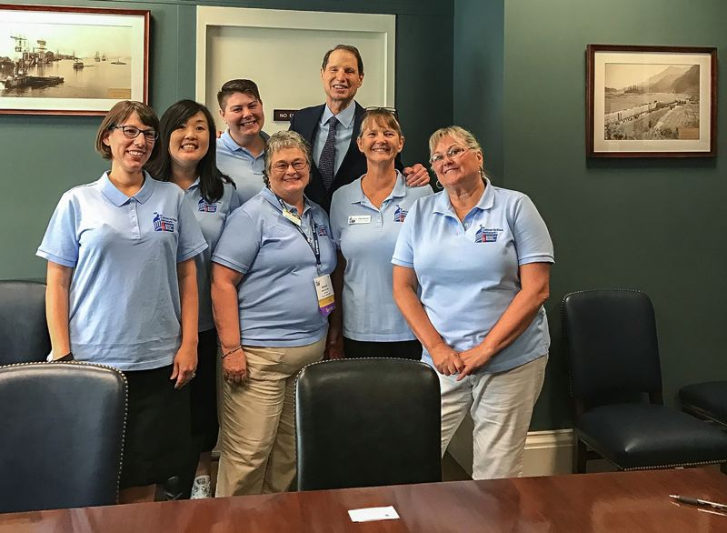 CONTRIBUTED PHOTO: AMERICAN CANCER SOCIETY - Libby Mongue-Wymore (far left with glasses) and the rest of the volunteer Oregon activists from the American Cancer Society meet with Oregon Senator Ron Wyden.