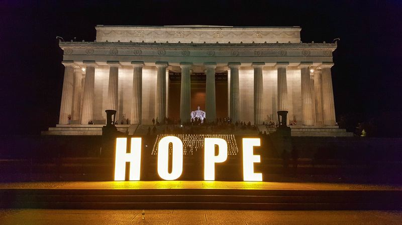CONTRIBUTED PHOTO: AMERICAN CANCER SOCIETY - The American Cancer Society ends the Washington D.C. lobbying effort with a meaningful display at the Lincoln Memorial.