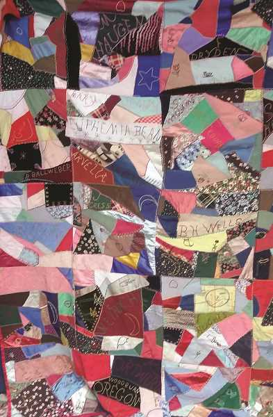 COURTESY PHOTO: AURORA COLONY MUSEUM - This year's quilt show theme is 'Crazy About Aurora.' Fittingly, the museum is seeking input on this mysterious crazy quilt, believed to have been made by women or girls in Woodburn in 1936. The quilt will be on display at this year's show.