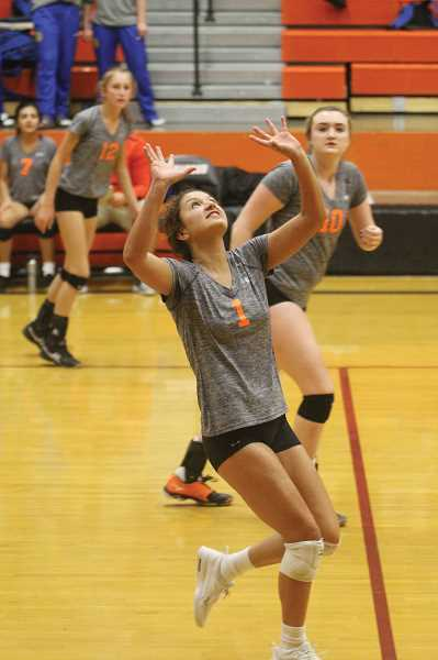 WILL DENNER/MADRAS PIONEER - Perhaps no one had a stronger response to last Tuesday's loss than junior Irma Retano, who proved to be equally valuable to Culver on offense and defense with 44 digs, 42 kills and 11 aces Saturday.
