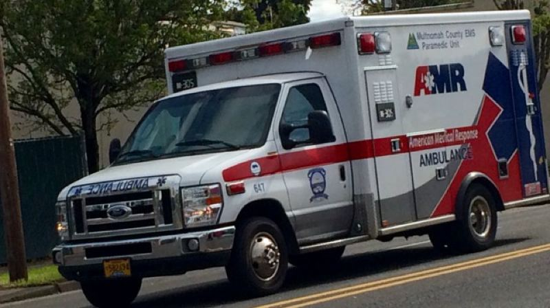 KOIN 6 NEWS - An AMR ambulance.