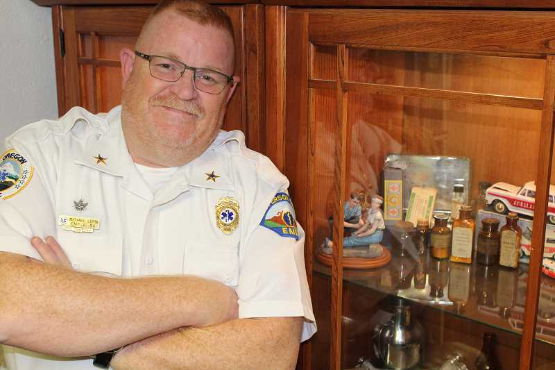 HOLLY M. GILL - New JCEMS Chief Mike Lepin has a display case of old medicine and medical equipment, some of which was owned by his mother and grandmother, both nurses.