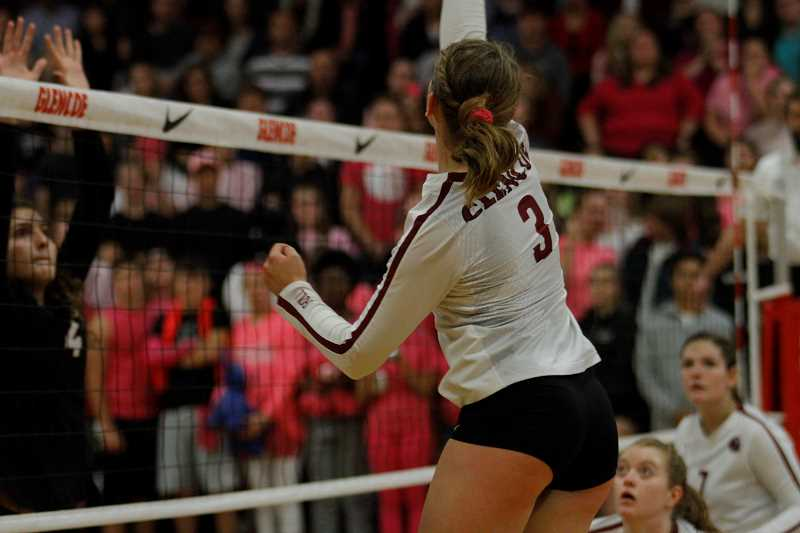 HILLSBORO TRIBUNE PHOTO: WADE EVANSON - Glencoe's Ash Bailey goes up for a spike in the Tide's game against top-ranked Southridge Tuesday, Oct. 10, at Glencoe High School.