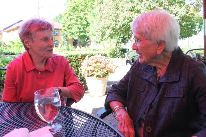 TRIBUNE PHOTO: LYNDSEY HEWITTTRIBUNE PHOTO: LYNDSEY HEWITT - Harriet Lesher (left), 86, and Betty Sweeny (right), 94, had never met during their many years of service at Albertina's Kitchen. They both recently retired but still plan to keep on moving.
