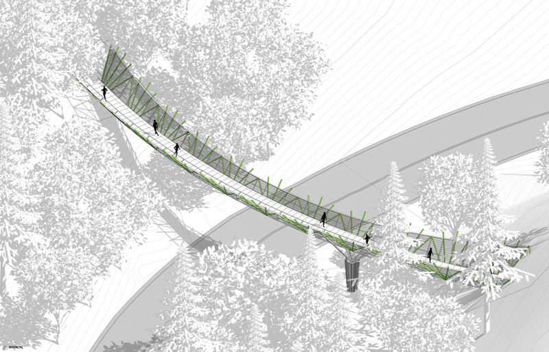 COURTESY PHOTO: PORTLAND PARKS FOUNDATION - The footbridge would connect the Wildwood Trail in Northwest Portland's Forest Park so pedestrians no longer have to cross the street.