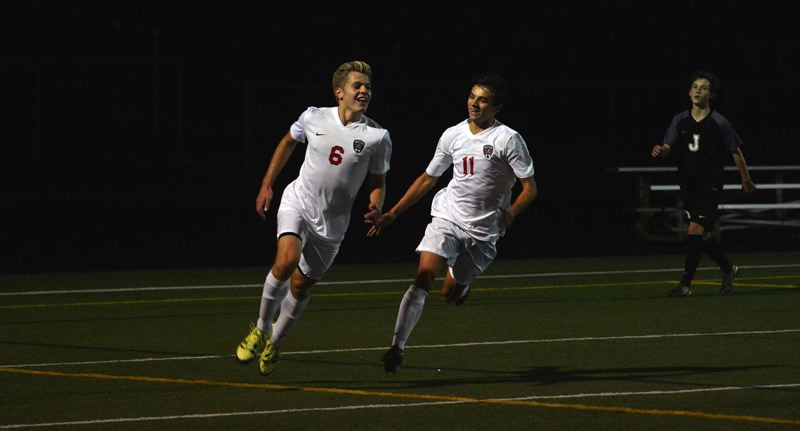 TIMES PHOTO: MATT SINGLEDECKER - Westview senior forward Liam Kiger scored the game-tying goal against Jesuit in the first half on Monday.