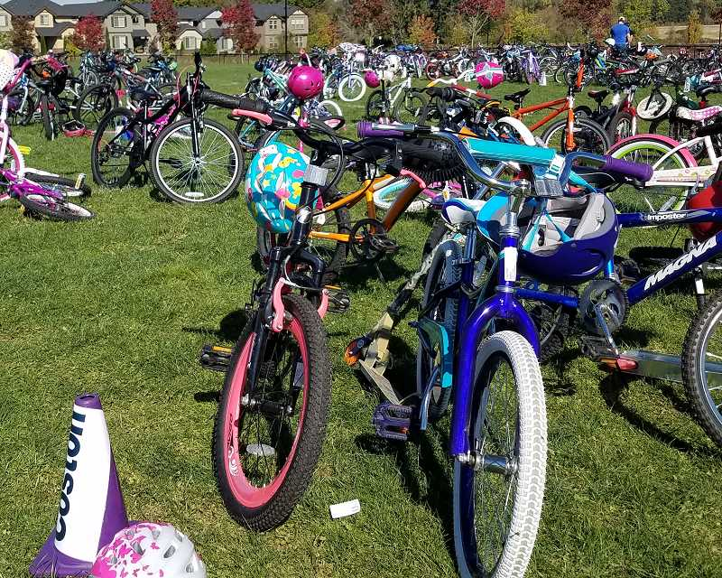 CONTRIBUTED PHOTO - Students line their bikes up before the start of Wheel A Thon.