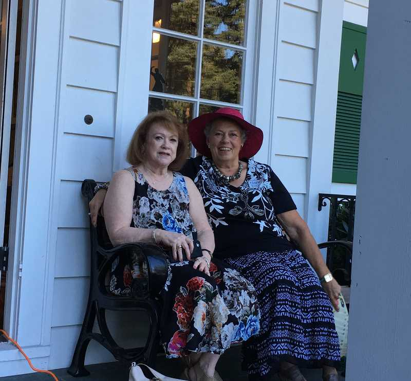 SUBMITTED PHOTO  - Nancy Dunis, right, and her friend Joan, enjoy a conversation and a free moment while attending an AAUW event this summer.