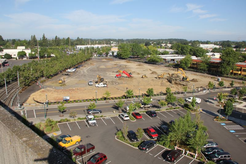 COURTESY OF THE CITY OF BEAVERTON - Construction crews and heavy equipment work the land where the Westgate Theatre previously stood in downtown Beaverton. A major residential development will be built on the site.