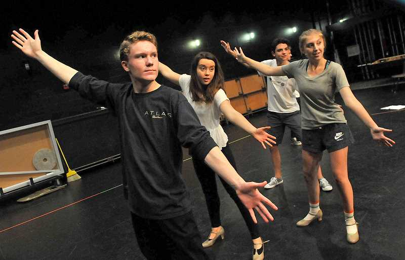 REVIEW PHOTO: VERN UYETAKE - Gangsters Ethan Wilde (from left), Gavin Ross and Brooke Baker rehearse a dance routine during preparations this week for 'The Drowsy Chaperone' at Lake Oswego High School.