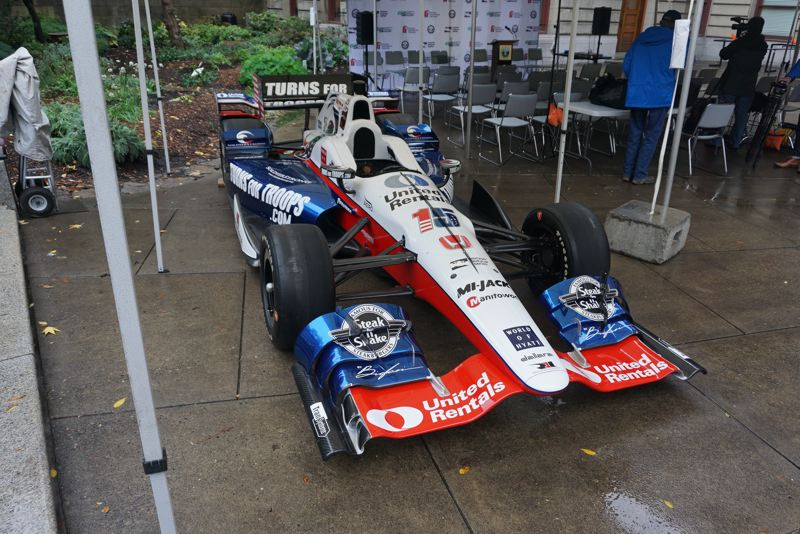 PORTLAND TRIBUNE: JEFF ZURSCHMEIDE - The IndyCar raced by Graham Rahal before the start of the press conference.