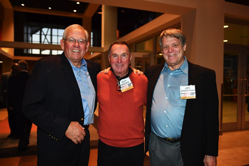 COURTESY: DAVE NISHITANI - Former Oregon State Beavers football players (from left) Skip Vanderbundt, Rich Brooks and Jon Sandstrom reconvene Friday night in Corvallis to help celebrate the 1967 'Giant Killers' of coach Dee Andros.