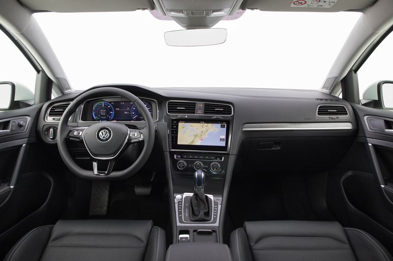 VOLKSWAGEN OF AMERICA - The interior of the 2017 VW e-Golf is well designed and outfitted with high quality materials. Only a few gauges reveal its all-electric powertrain.