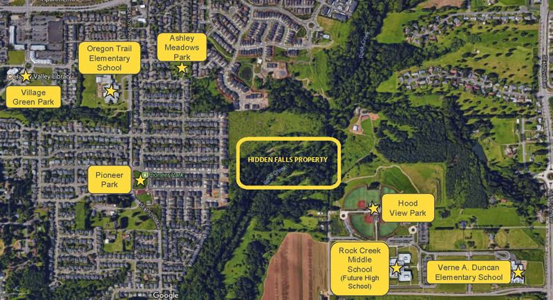 SUBMITTED PHOTO - A map shows the location of Hidden Falls Park in Happy Valley.