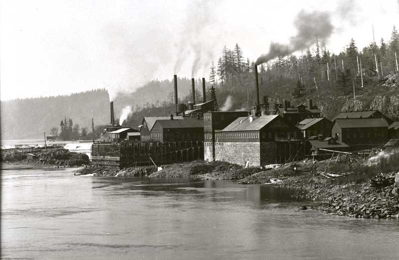 PHOTO COURTESY OF CLACKAMAS HISTORICAL SOCIETY - The mill as seen in 1896, when it was known as the Crown Paper Mill.