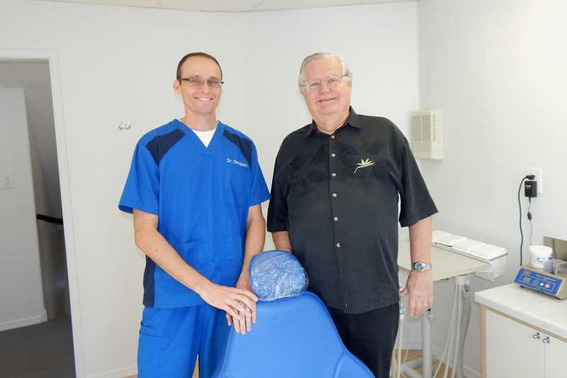 BARBARA SHERMAN - King City dentists Scott Simpson, left, and Toivo Sepp barely spent any time together at Appletree Dentistry as Simpson arrived from Florida just in time to bid Sepp a happy retirement.