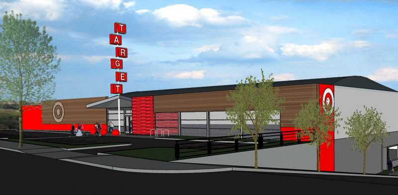 DAVID F. ASHTON - This artist's conception shows the street-front design of the new small format Target store, to be located in the former bowling alley space on Powell Boulevard.