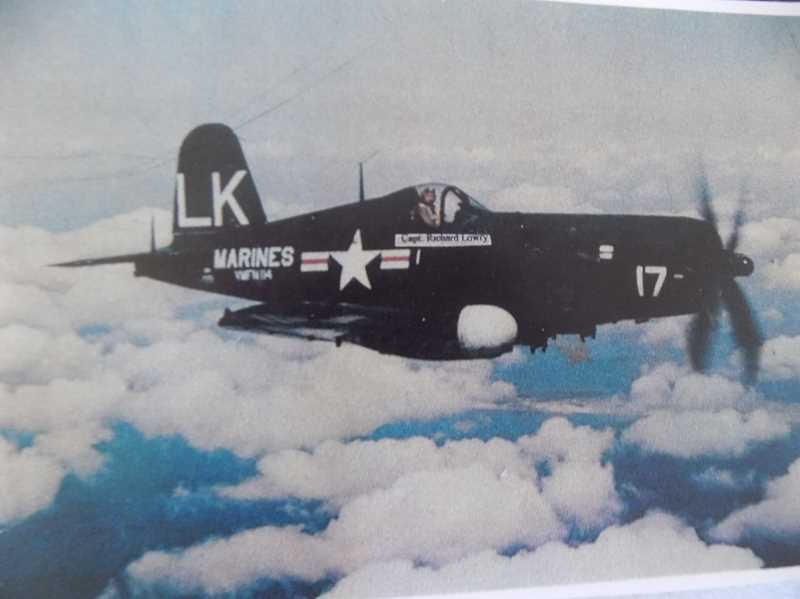 COURTESY RICK LOWRY - Rick Lowry flies in a F4U Corsair fighter and bomber during World War II.