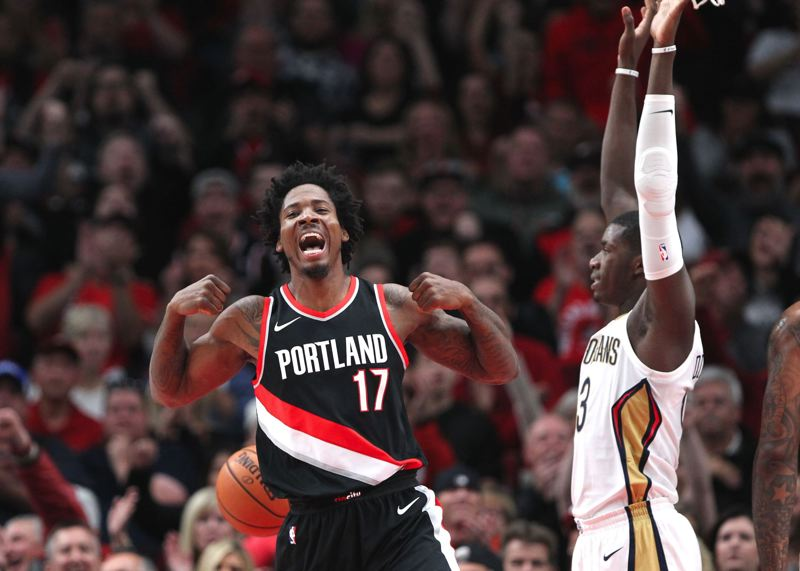 TRIBUNE PHOTO: JAIME VALDEZ - Trail Blazers forward Ed Davis reacts after making a basket and drawing a foul Tuesday night at Moda Center.