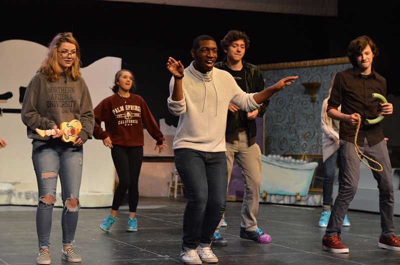 SPOKESMAN PHOTO: CLARA HOWELL - Sophomore Natalie Young (left), sophomore Tristan Ihelenburg, senior Kalonni Smith, junior Garrett Dixon and sophomore Ari Lauthner are part of the cast for 'The Little Mermaid.'