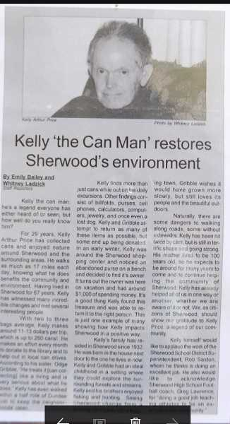 COURTESY OF ODGE GRIBBLE - A newspaper article years ago highlighted Kelly Prices continuous can collecting.