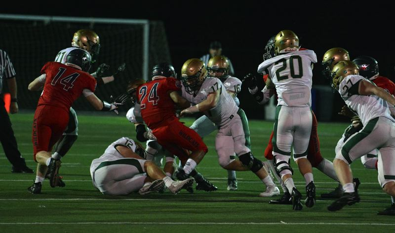 TIMES PHOTO: MATT SINGLEDECKER - Jesuit senior linebacker Isaiah Henderson-Brazie had a sack and a tackle for a loss against Westview.