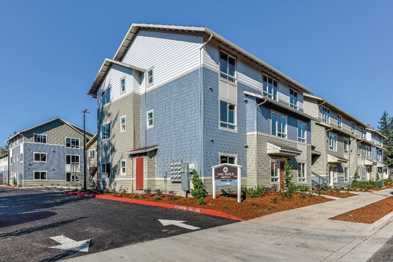 COURTESY RELAY RESOURCES - The Maple Vine apartment complex was built by Home First Development for Relay Reources, a nonprofit affordable housing developer and operator. The cost was around $90,000 per unit comapred to over $200,000 for government-funded projects.