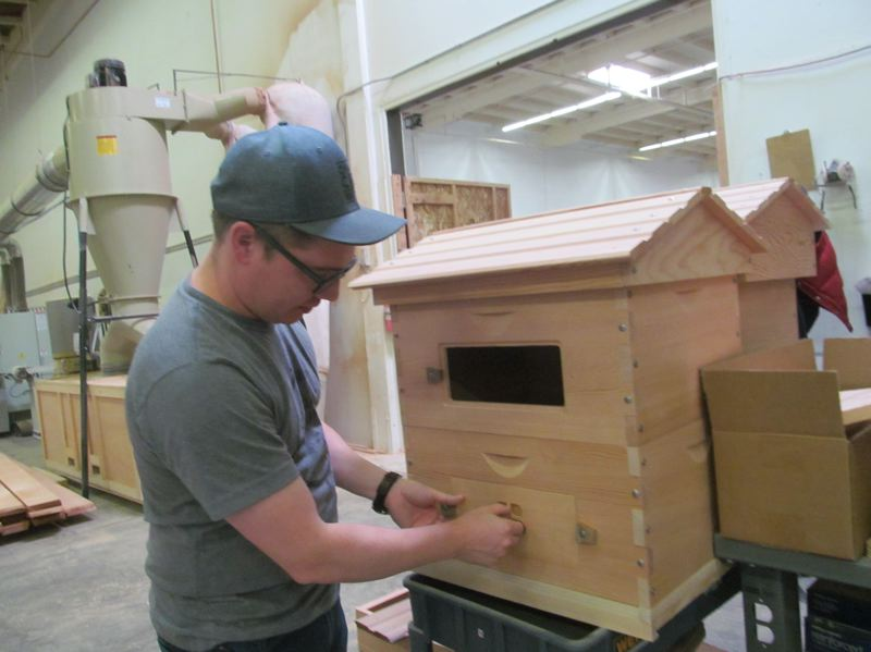 PHOTO BY ELLEN SPITALERI - Matt Reed checks the quality of partially built bee hives in the Bee Built warehouse in Milwaukie.