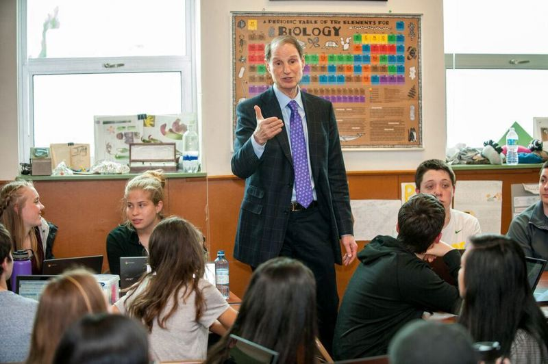 FILE - U.S. Sen. Ron Wyden, pictured visiting a classroom in Beaverton, will kick off a set of town hall meetings with an event at Tigard High School on Friday afternoon.
