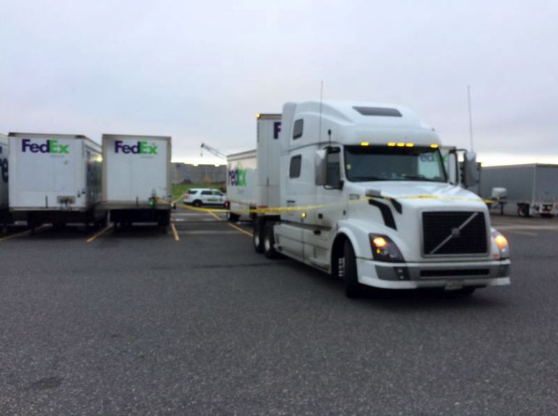 MCSO PHOTO - Police snapped this photo after an unidentified Jaydan contractor was killed in a workplace incident in October at FedEx Ground's Troutdale shipping hub.