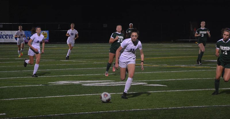 TIMES PHOTO: MATT SINGLEDECKER - Sunset sophomore Stephanie Niebergall scored the go-ahead and ultimately game-winning goal against Sheldon in the second round of the Class 6A playoffs on Tuesday.