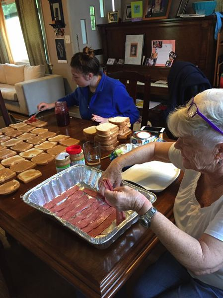 COURTESY: SUSIE SNORTUM - Free Hot Soup cooks prepare about 100 peanut butter and jelly sandwiches every day with donated food, and also make hot entrees with whatevers on hand, like casseroles with turkey bacon.