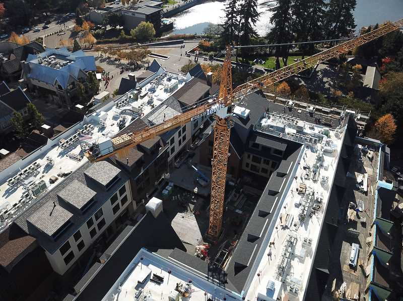 REVIEW PHOTO: ALVARO FONTAN - Oct. 27, 2017: Work continues inside the central courtyard of The Windward in this photo looking southeast from the corner of A Avenue and Second Street.
