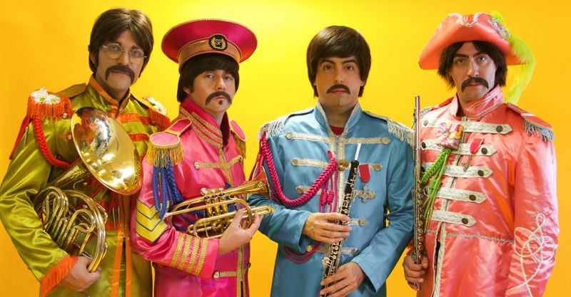 COURTESY PHOTO - The Beatles' tribute band Abbey Road is (left to right) Nate Bott, Axel Clarke, Chris Paul Overall and Jesse Wilder. They'll join Rolling Stones'  tribute band Satisfaction at Aladdin Theater, Nov. 6.