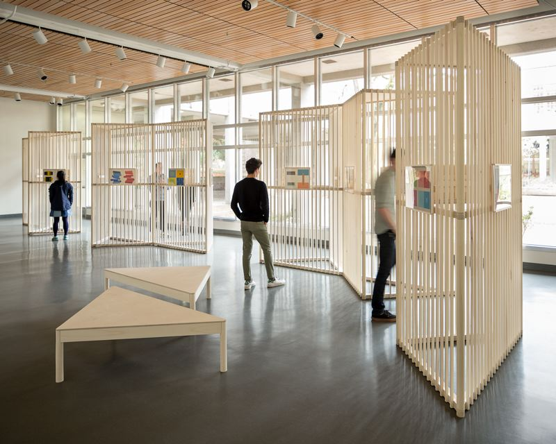 COURTESY: UNIVERSITY OF OREGON - A wooden divider for hanging art at the University of Oregon, designed as an open-ended kit of parts system. The judges were impressed by the simplicity and the level of wood craftsmanship.