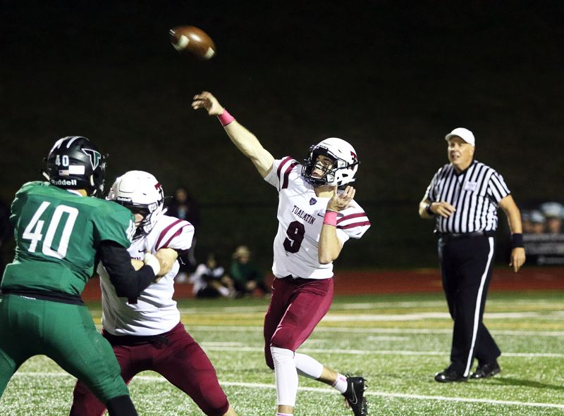 TIMES PHOTO: DAN BROOD - The 11th-ranked Tualatin Timberwolves and quarterback Kyle Dernedde open playoff action tonight when they host No. 22 Madison at 7 p.m. tonight.