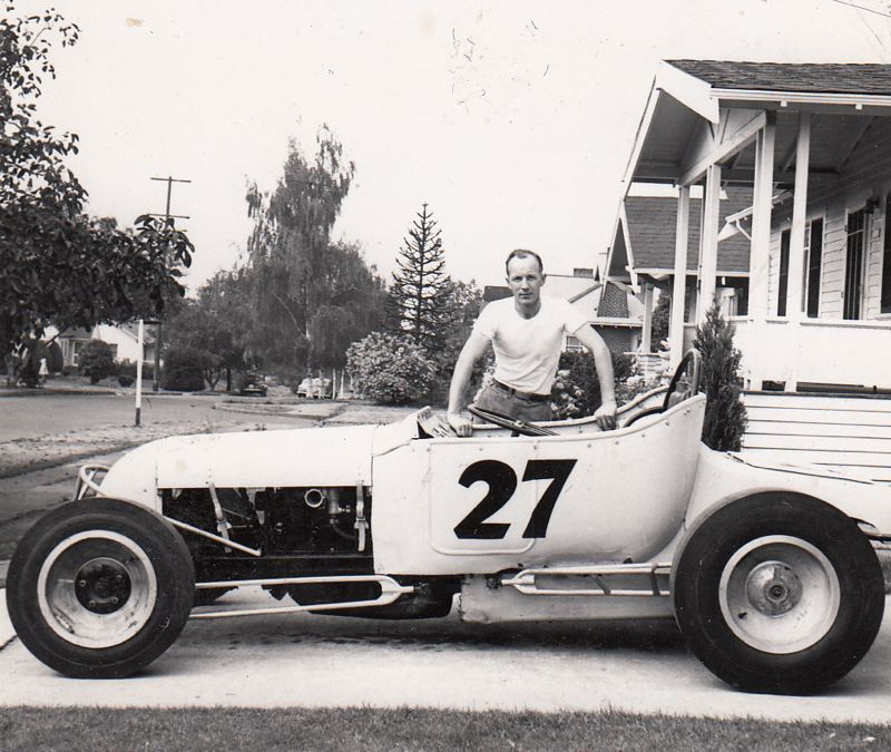 COURTESY ROLLA VOLLSTEDT - Rolla Vollstedt with the Track T roadster that launched his career in racing at Portland Speedway, about 1950.