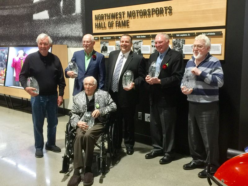 COURTESY WORLD OF SPEED - The charter inductees in the Northwest Motorsports Hall of Fame were (l-r) Hershel McGriff, Dale LaFollette, Rolla Vollstedt (seated), Bob Lanphere, Jr., Monte Shelton, and Jack Coonrod.