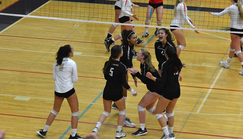 TIMES PHOTO: MATT SINGLEDECKER - The Southridge volleyball swept South Salem and West Linn in the 6A state tournament and will play Central Catholic in the title game.
