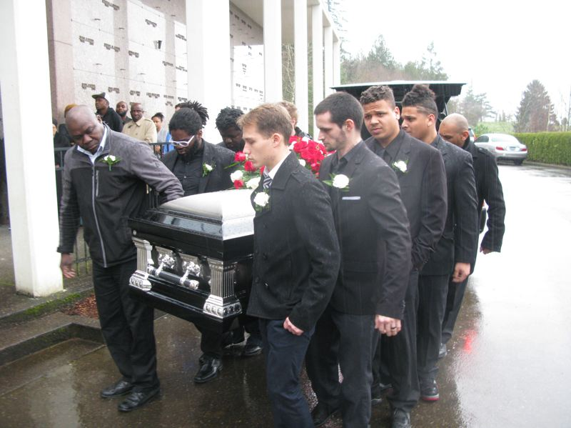 2016 FILE PHOTO BY RAYMOND RENDLEMAN - Chris Kalonji's funeral in 2016. The 2014 Rex Putnam gard also lived in the Holly Acres apartment complex.