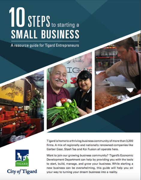 COURTESY OF THE CITY OF TIGARD - Tigard's Economic Development Department has published a new guide for Tigard businesspeople and entrepreneurs.