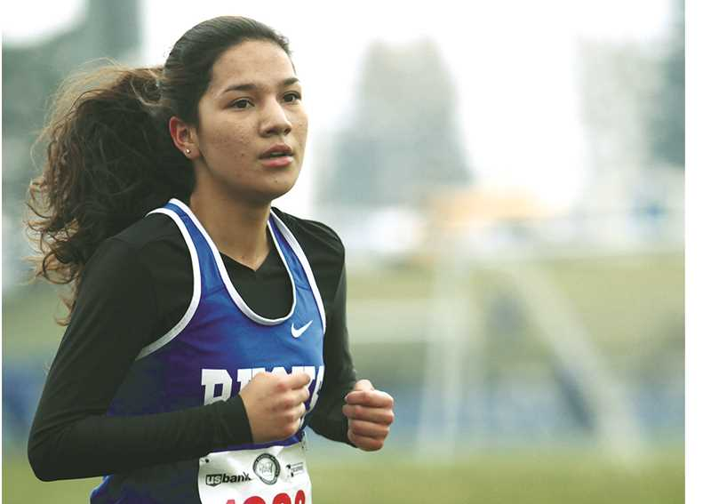 PHIL HAWKINS -- WOODBURN-INDEPENDENT - Sophomore Jackie Diaz paced St. Paul at the 3A/2A/1A state cross-country championships, placing 75th in 25:04 Saturday at Lane Community College in Eugene on Saturday.