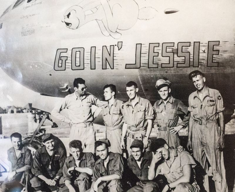 COURTESY JACK CRAMER - The crew of the Goin' Jessie in a picture taken at its base in WWII. Navigator Jack Cramer is second from the right in the second row.