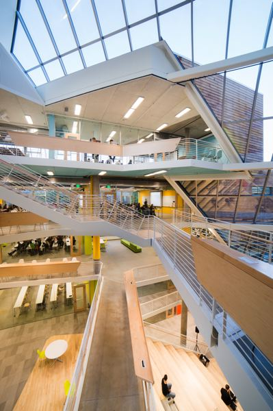 COURTESY BEHNISCH ARCHITEKTEN, JANIS ROZKALNS  - The Karl Miller Center, now complete, will still have a year of close attention from its architects,  SRG Partnership, which is working in the area, and Boston-based Behnisch Architekten.