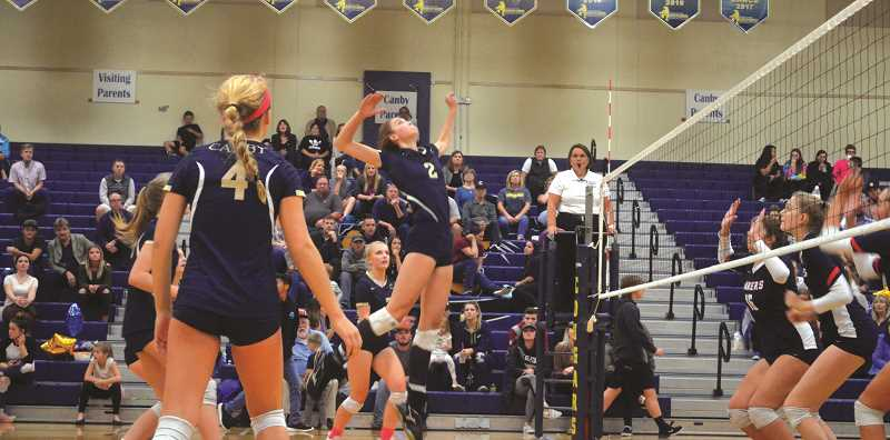 HERALD PHOTO: TANNER RUSS - Freshman Audra Wilmes was a huge offensive presence for Canby at the net. Wilmes had the second most kills on the team with 159, and received second team honors for her efforts.